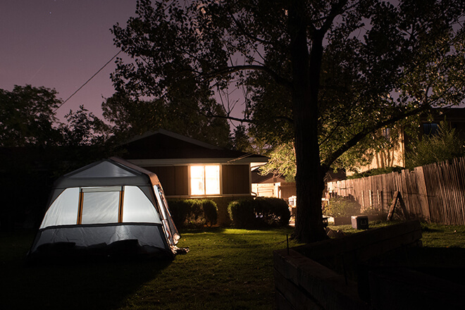 Camping in your backyard - thing to do in isolation