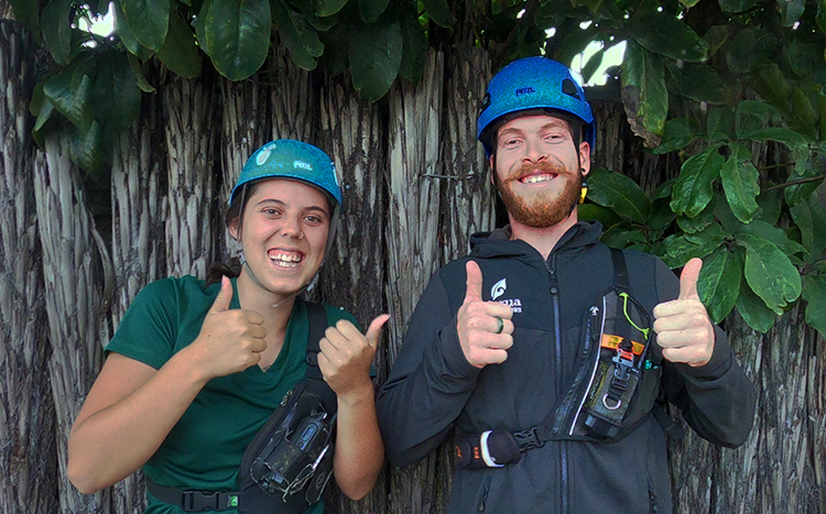 Cam and Santraea - two of our kiwi guides with their favourite outdoor activites