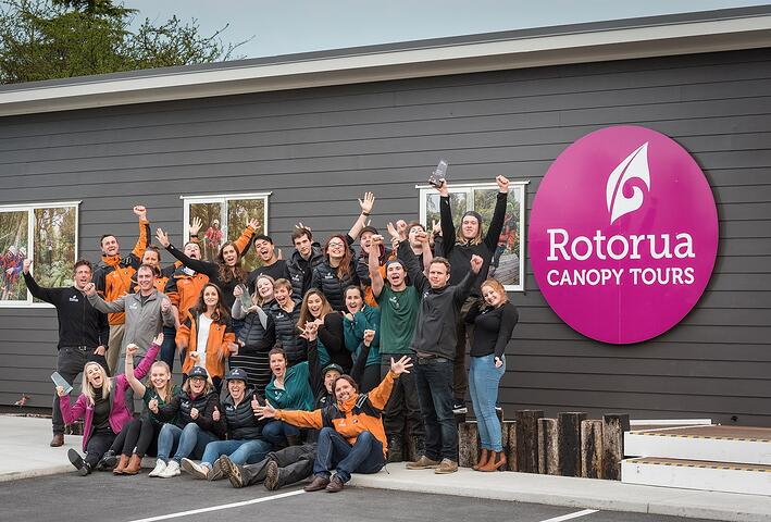 eco zipline Rotorua Canopy Tours team photo