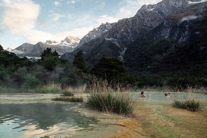 Welcome Flat Evening - New Zealand hot springs